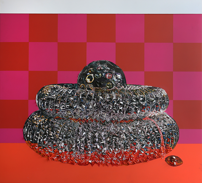 Grace Crothall  Suckascientificsupersonicsparklesausagesputnik I , 2017 Oil and acrylic on board with aluminium 900 x 1000 mm [Private collection]  _______