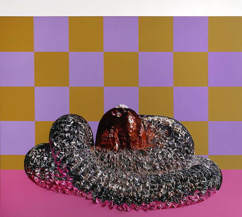 Grace Crothall  Suckascientificsupersonicsparklesausagesputnik II , 2017 Oil and acrylic on board with aluminium 900 x 1000 mm [Private collection]  _______