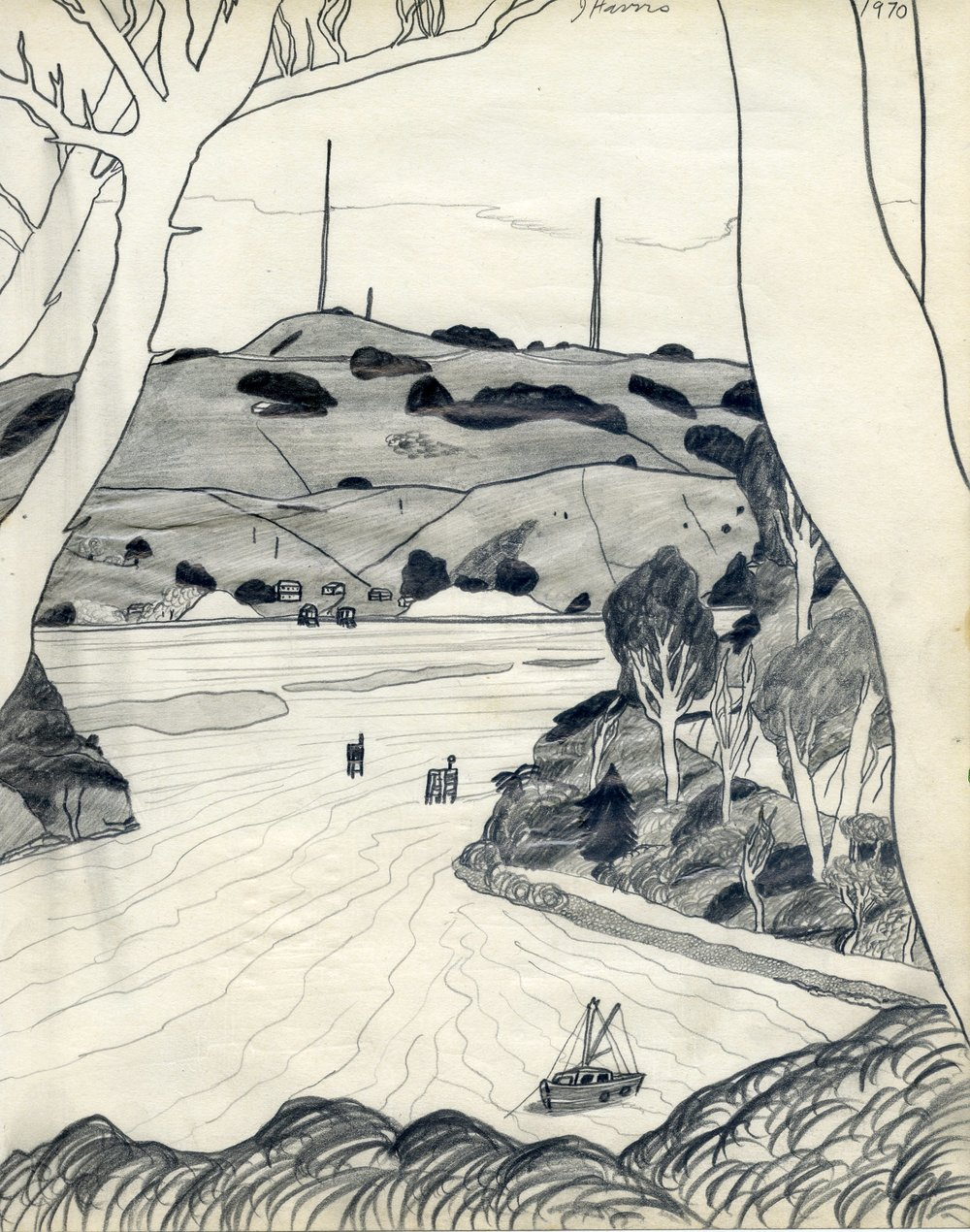 Jeffrey Harris  Port Chalmers , 1970 Pencil on paper 255 x 530 mm [Private collection]  ______