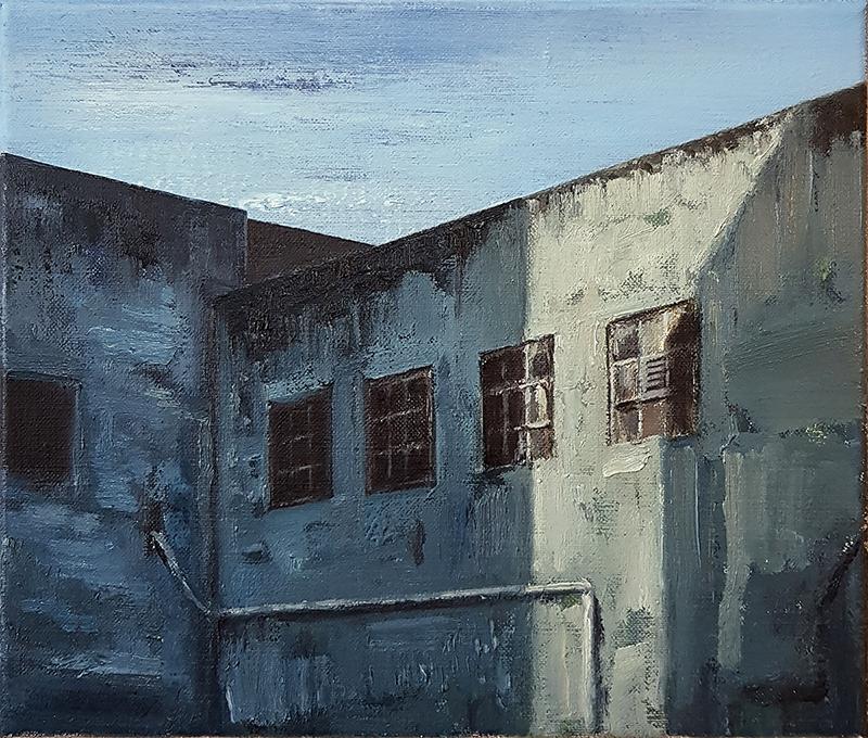 Daniel Unverricht  Scale , 2017 Oil on linen 250 x 300 mm [Private collection]  _______