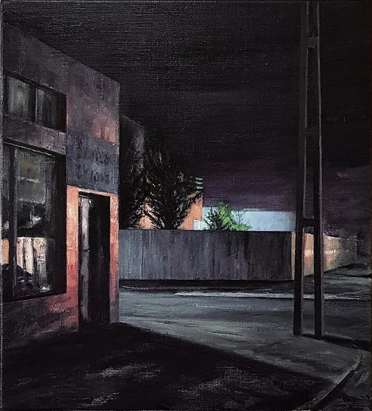 Daniel Unverricht  Glare , 2017 Oil on linen 550 x 500 mm [Private collection]  _______