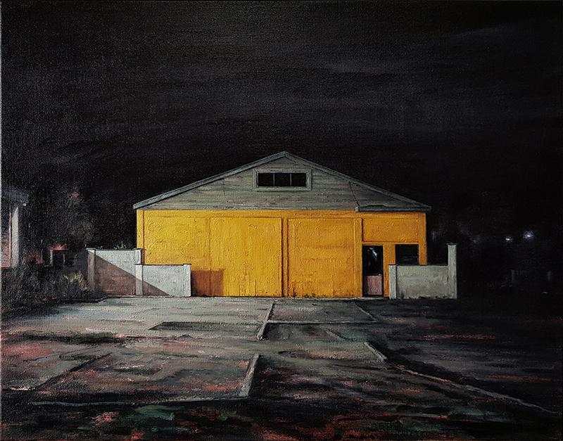 Daniel Unverricht  Interzone , 2017 Oil on linen 700 x 900 mm [Private collection]  _______
