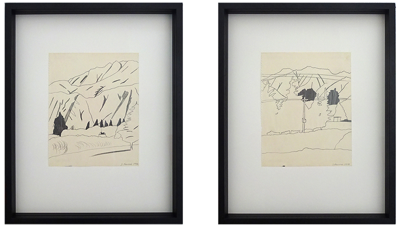 Jeffrey Harris  Central Otago diptych , 1970 Framed pencil on paper 255 x 220 mm each (paper size)  ______