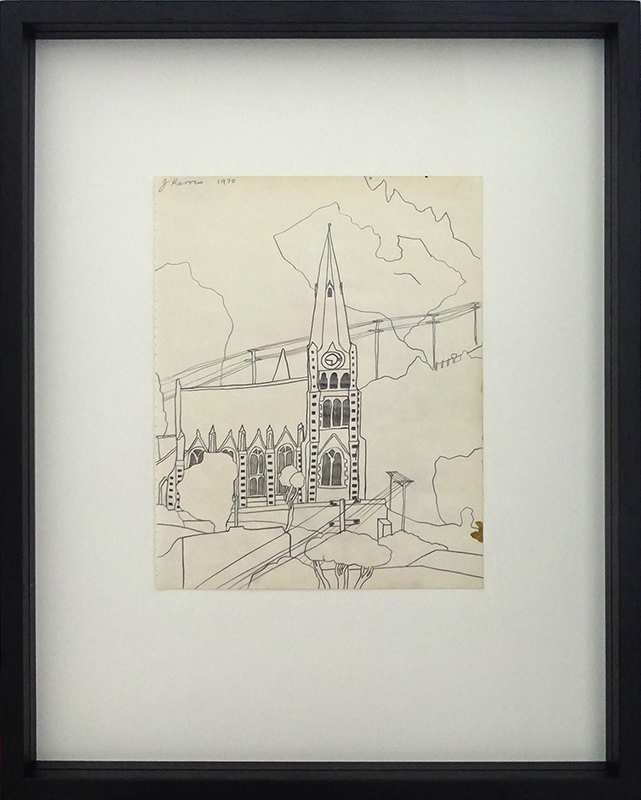 Jeffrey Harris  Church at Port Chalmers , 1970 Framed pencil on paper 255 x 220 mm (paper size)  ______