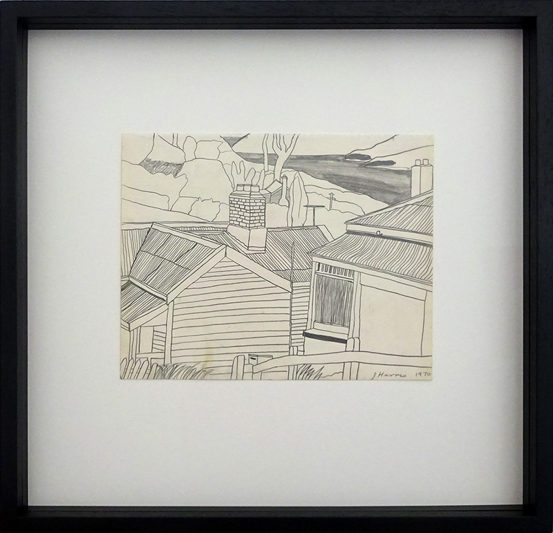 Jeffrey Harris  Houses at Port Chalmers , 1970 Framed pencil on paper 220 x 255 mm (paper size)  ______