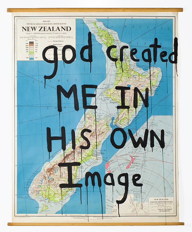 Richard Lewer  God created me in his own image , 2013 Enamel on found school map 1120 x 870 mm  _______