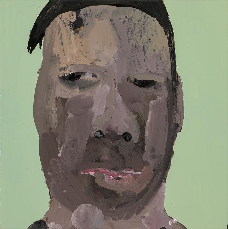 Richard Lewer  Chris S, 2017 Enamel on oil primed canvas 310 x 310 mm  ______