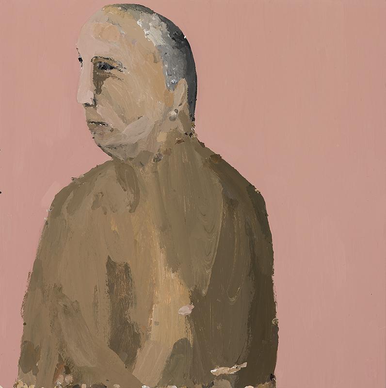 Richard Lewer  Mick, 2017 Enamel on oil primed canvas 720 x 720 mm  ______