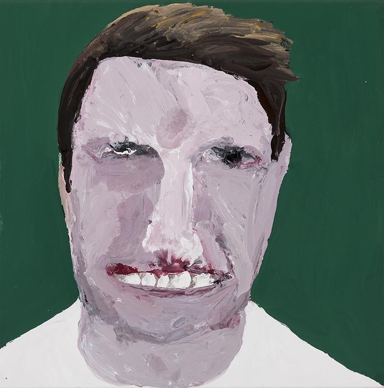 Richard Lewer  Nathan, 2017 Enamel on oil primed canvas 310 x 310 mm  ______