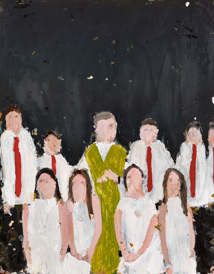 Richard Lewer  St Pius First holy communion,  2017 Oil on epoxy coated steel 480 x 380 mm  _______