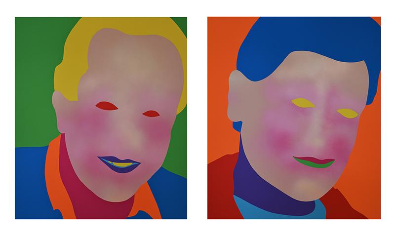 Wayne Youle  Bloody Funny Guys Bloody Funny , 2018 Acrylic, enamel on board 700 x 600 mm each $11,000 incl. GST (framed diptych) [McPhail & Gadsby]  _______
