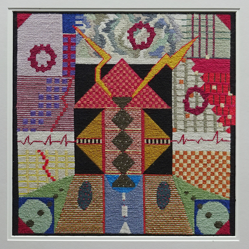 Katy Corner  Out of the Blue , 2008 Framed tapestry 314 x 314 mm [Corner Family Collection]  _______
