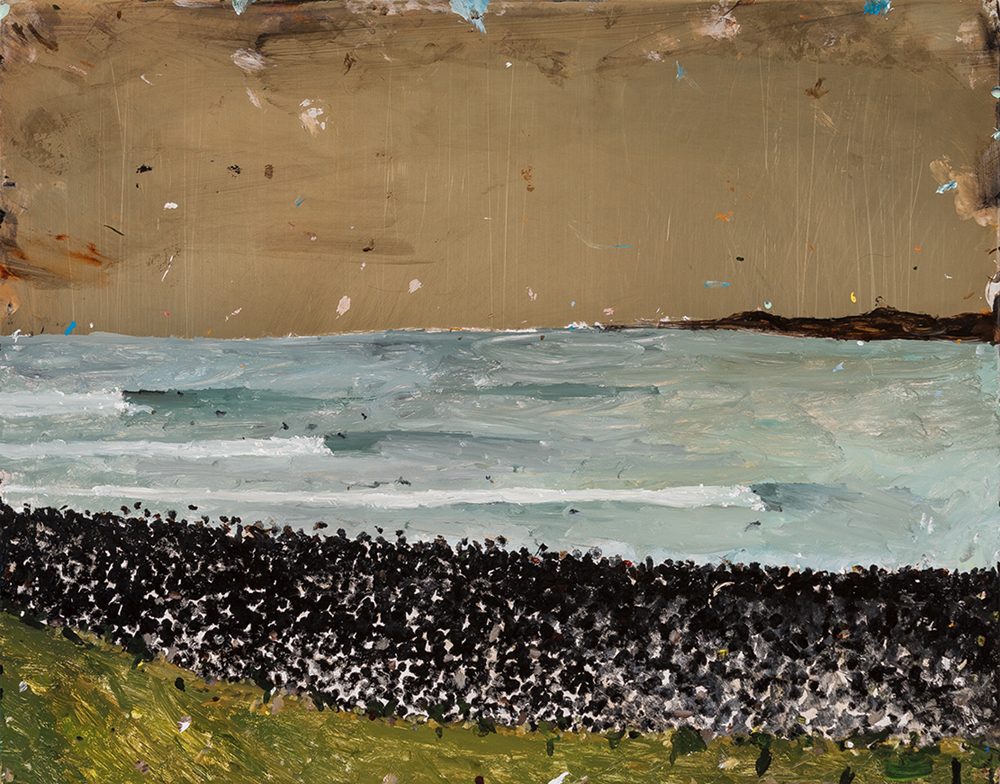 Richard Lewer  Manu Bay looking toward Boneyards,  2018 Oil on epoxy coated copper 380 x 485 mm  _______