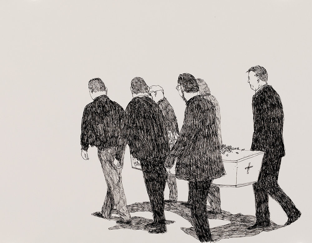 Richard Lewer  Mum's pall bearers - me, Stephen, John, David, Colin and Reg,  2018 Archival ink pen on museum rag board 370 x 290 mm  _______