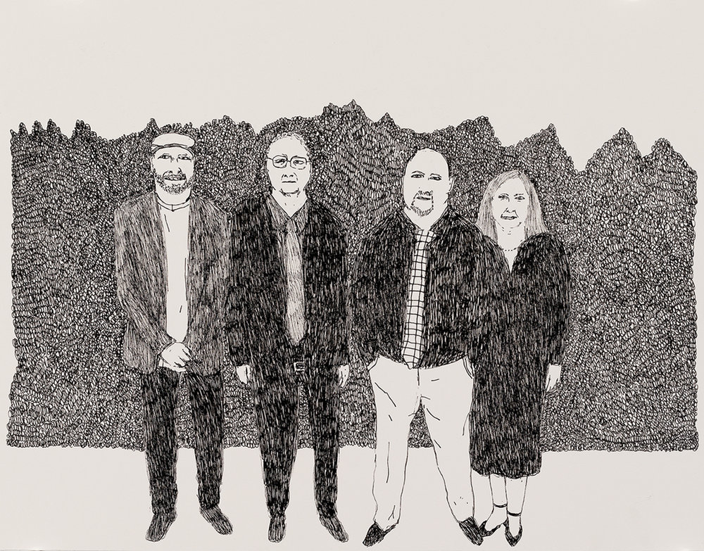 Richard Lewer  Dad with me, my brother and sister,  2018 Archival ink pen on museum rag board 370 x 290 mm  _______