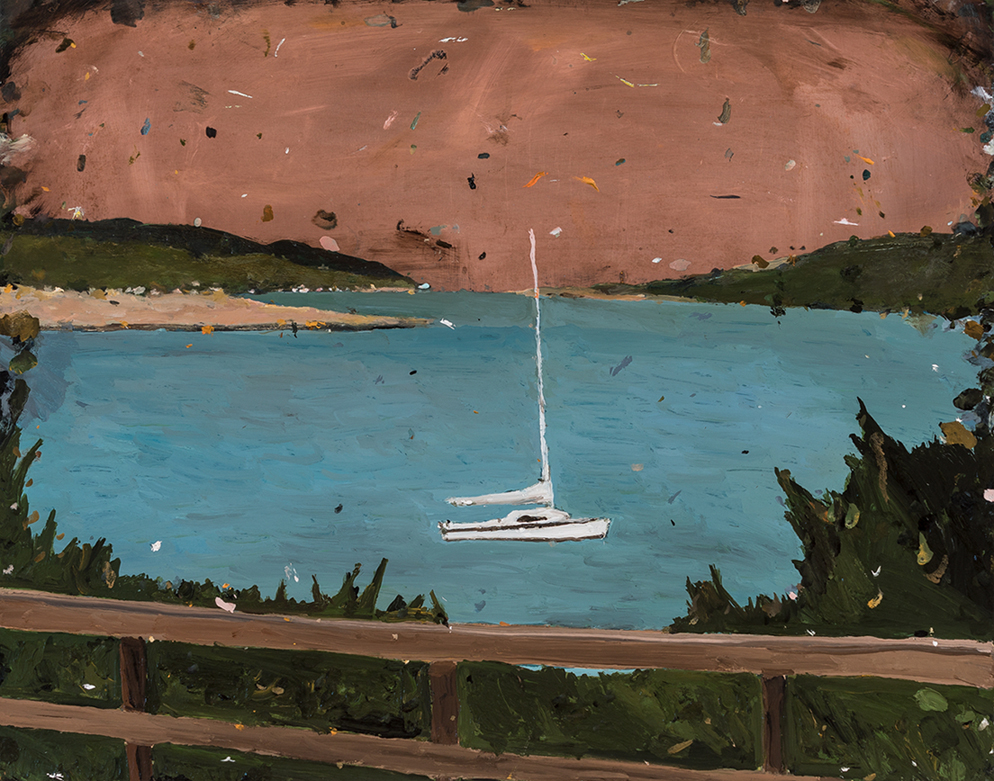 Richard Lewer  Raglan Harbour,  2018 oil on epoxy coated copper 380 x 485 mm  ______