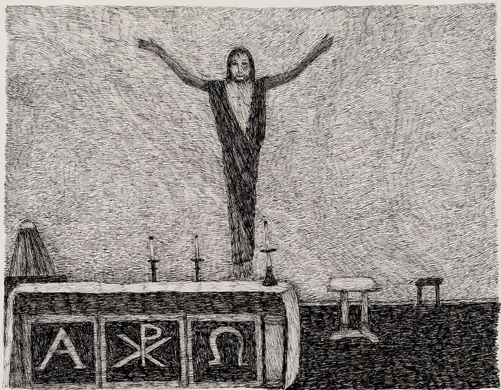 Richard Lewer  The crucifixion in St Joseph's Church,  2018 Archival ink pen on museum rag board 370 x 290 mm [Private collection]  ______