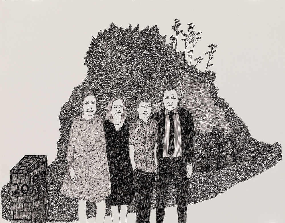 Richard Lewer  My sister and her family - Colin, Amy and Monty,  2018 Archival ink pen on museum rag board 370 x 290 mm [Private collection]   ______