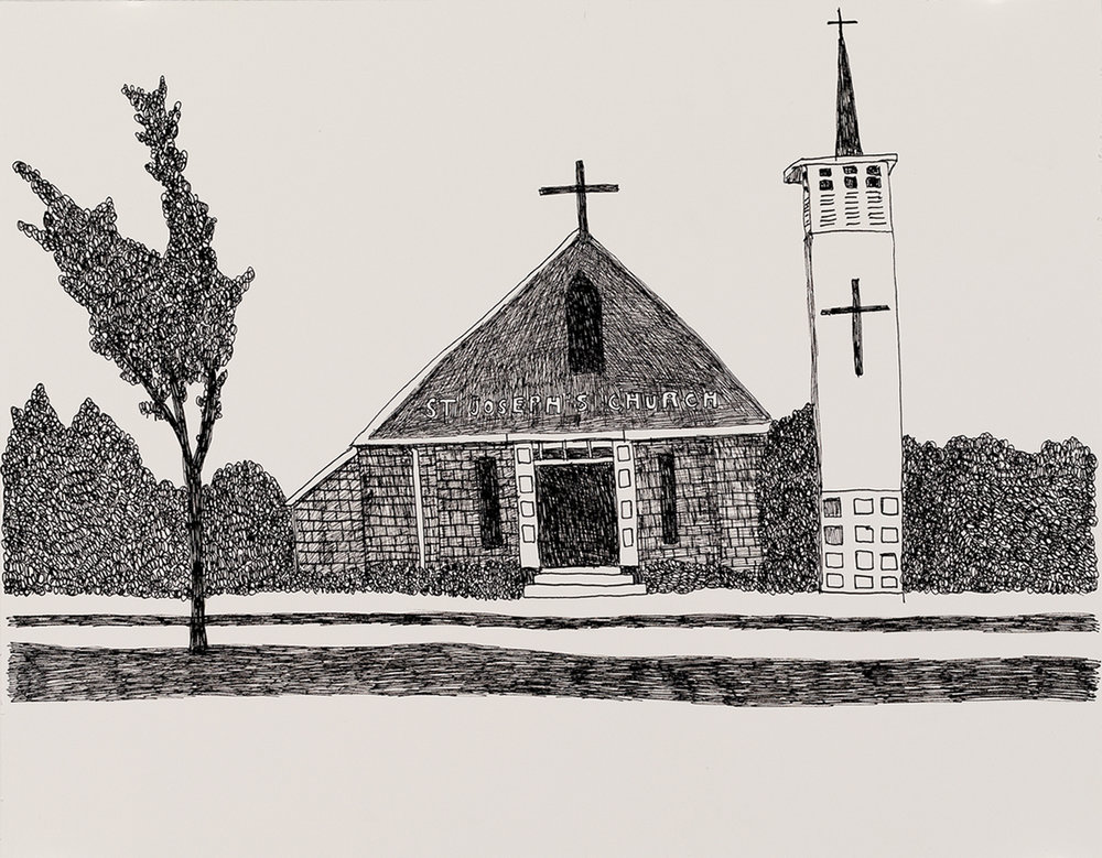 Richard Lewer  St Joseph's Church,  2018 Archival ink pen on museum rag board 370 x 290 mm  ______