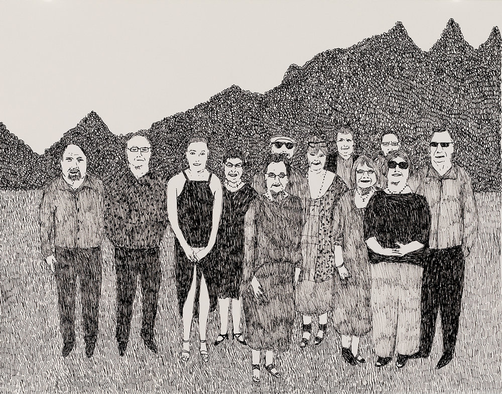 Richard Lewer  The last family photo,  2018 Archival ink pen on museum rag board 370 x 290 mm  ______