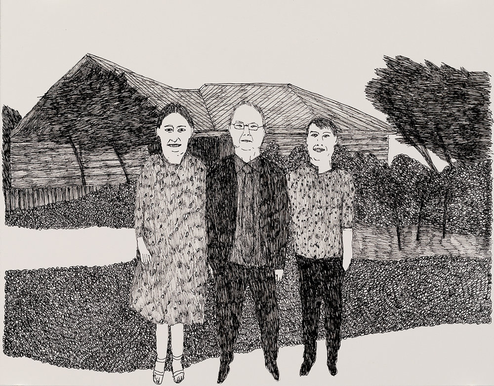 Richard Lewer  Dad with Amy and Monty,  2018 Archival ink pen on museum rag board 370 x 290 mm  ______