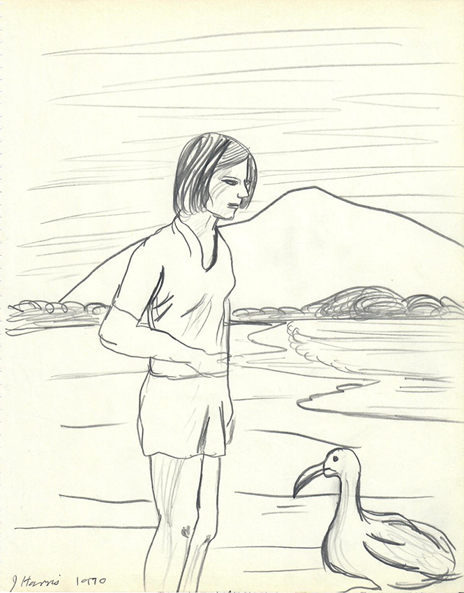 Jeffrey Harris  Girl with Bird , 1970 Pencil on paper 255x 205 mm  ______