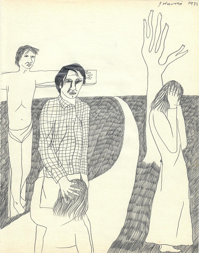Jeffrey Harris  Figures with Crucifixion , 1971 Pencil on paper 255 x 205 mm  ______