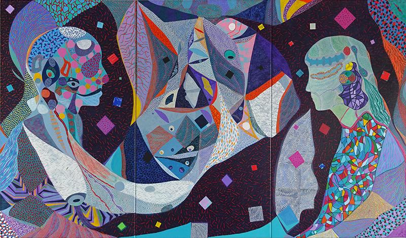 Arie Hellendoorn  Compass , 2018 Acrylic on linen 1400 x 2400 mm (in three panels) $19,500 incl. GST  _______