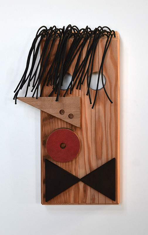 Wayne Youle  Blackbird,  2018 Wood dyed mahogany, Oregon pine, acrylic paint and black nylon cord 325 x 190 x 65 mm [Private collection]  _______