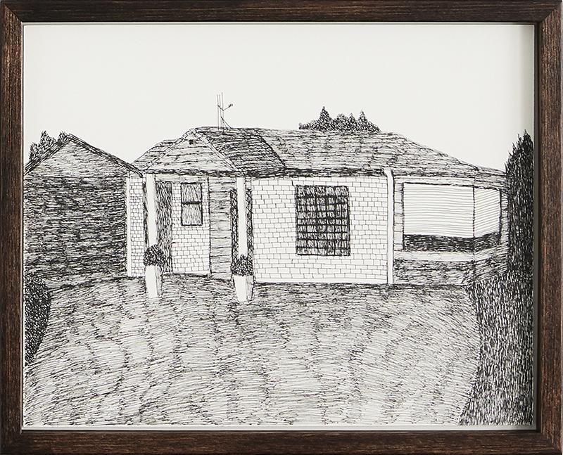 Richard Lewer  20 Halcione Close, Hamilton , 2018 Archival ink pen on museum rag board 290 x 370 mm  _______