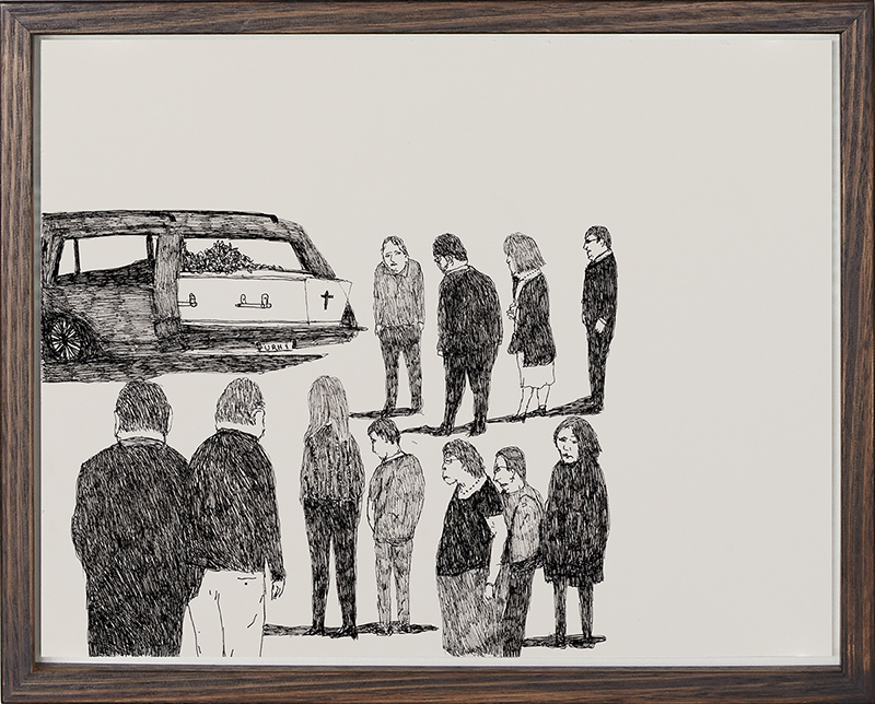 Richard Lewer  Mum's coffin in the hearse before the funeral service , 2018 Archival ink pen on museum rag board 290 x 370 mm  _______