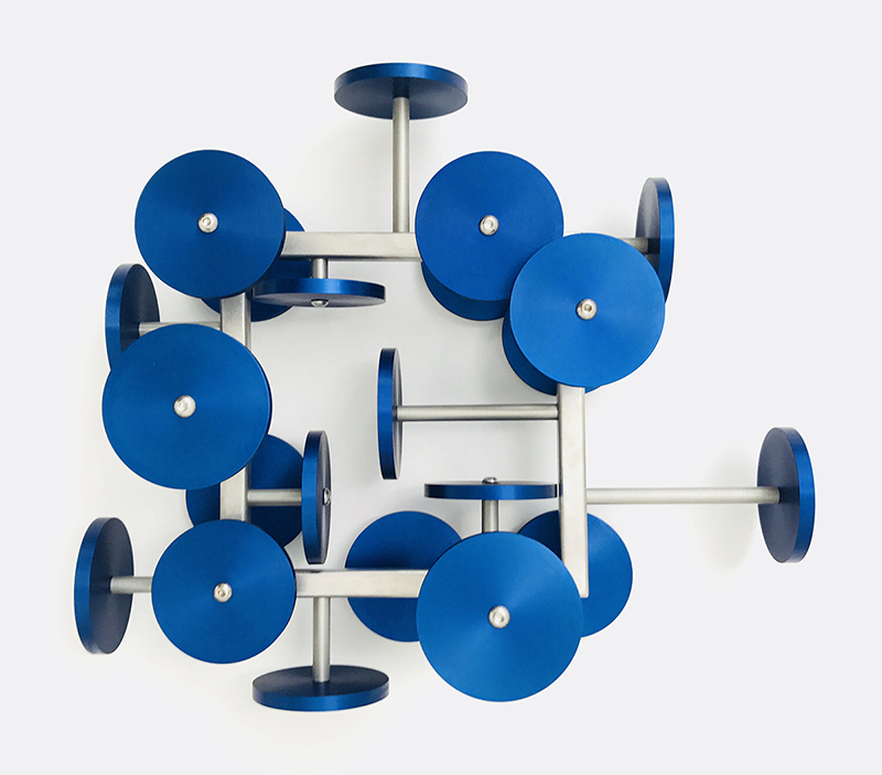 Anton Parsons  Blue flowers , 2017 Stainless steel and anodised aluminium 580 x 650 x 260 mm  _______