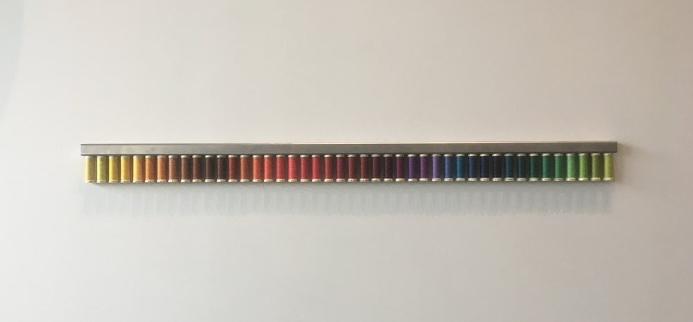 Anton Parsons  Cotton painting (spectrum) , 2018 Stainless steel and cotton 80 x 1100 x 25 mm  ______