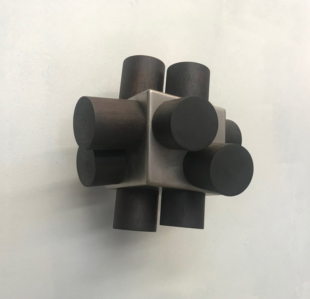 Anton Parsons  Half Dozen , 2018 Stainless steel and wood 190 x 190 x 190 mm  ______