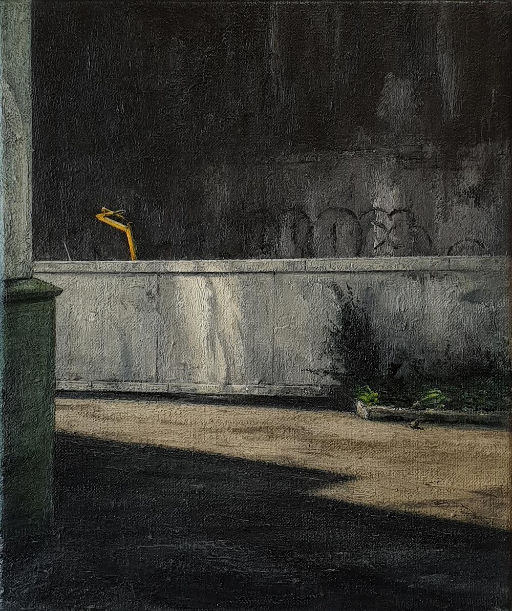 Daniel Unverricht  Pivot , 2018 Oil on linen 300 x 250 mm [Private collection]  _______