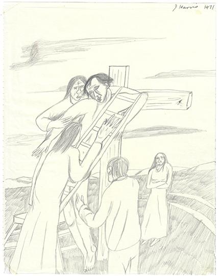 Jeffrey Harris  Deposition , 1971 Pencil on paper 255 x 205 mm  _______