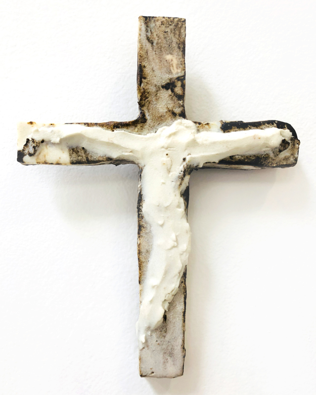Richard Lewer  Crucifix #15,  2018 Fired stoneware 175 x 130 mm  _______