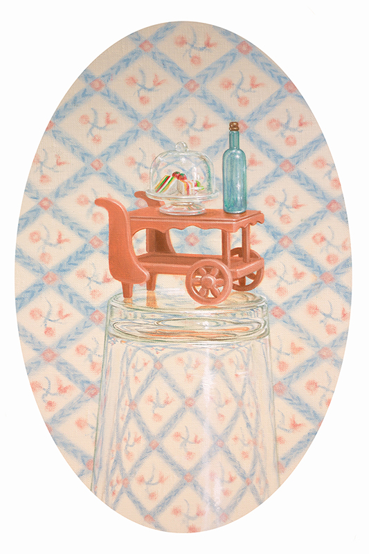 Emily Hartley-Skudder  Room Service , 2018 Framed oil on linen 270 x 185 mm $3,000 incl. GST  _______
