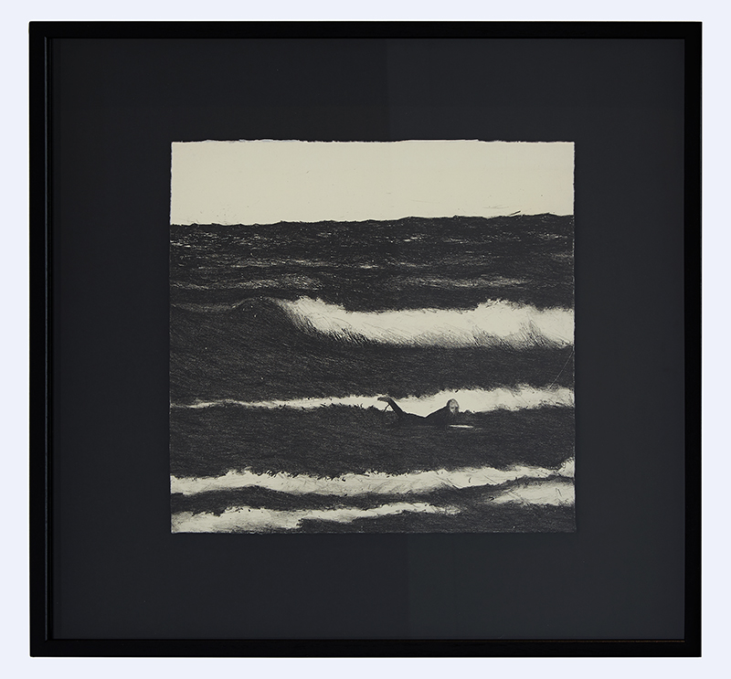 Richard Lewer  Near drowning , 2017 Framed lithograph 460 x 445 mm Edition 7 of 10  _______ $1,500 incl. GST