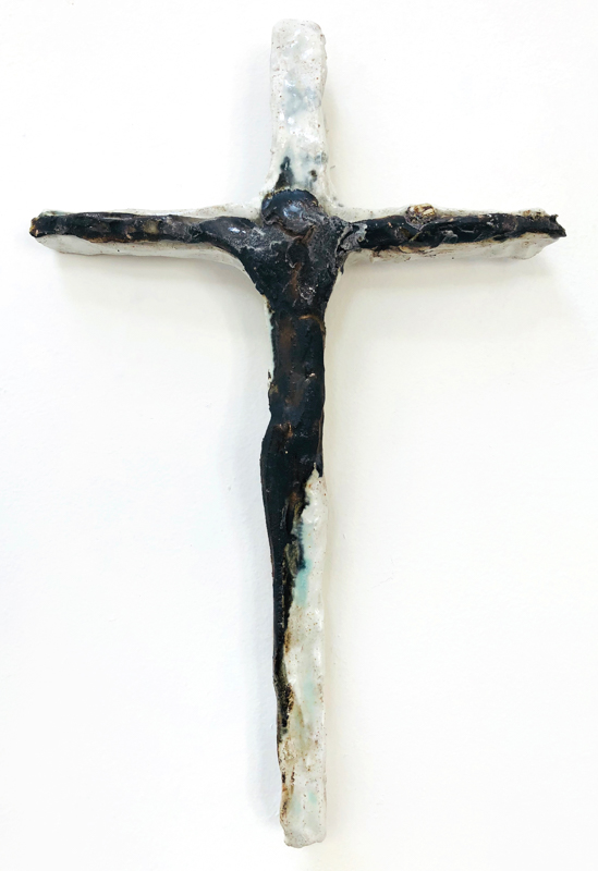 Richard Lewer  Crucifix #24,  2018 Fired stoneware 240 x 180 mm  _______