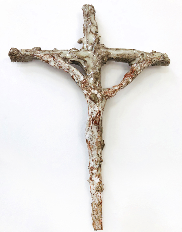 Richard Lewer  Crucifix #36,  2018 Fired stoneware 360 x 260 mm  _______