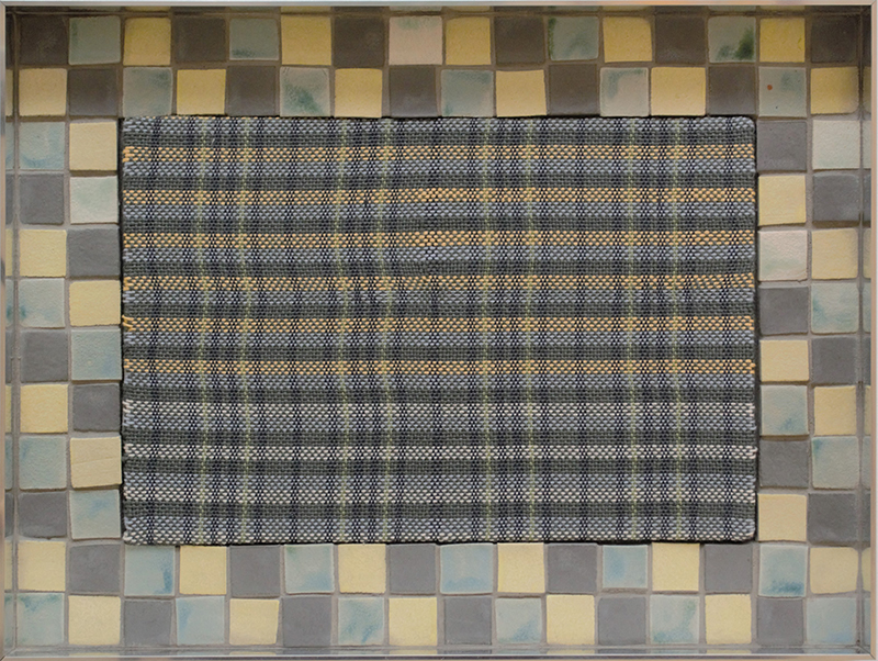 Tia Ansell  Grid (Grey, Yellow and Teal),  2019 Linen, cotton and wool weaving, ceramic tiles and grout in custom aluminium frame 460 x 342 x 60 mm $2,500 incl. GST  ______