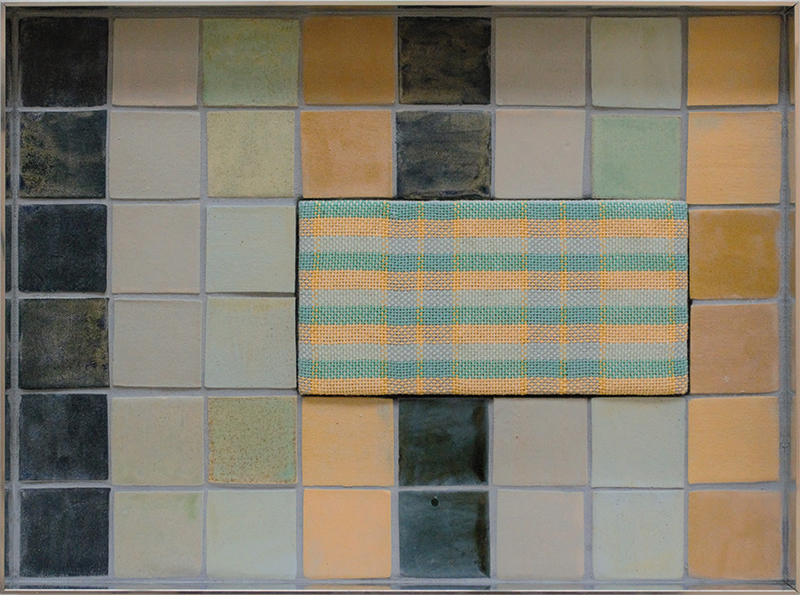 Tia Ansell  Horizons (Indigo, Jade and Mustard),  2019 Linen, cotton and wool weaving, ceramic tiles and grout in custom aluminium frame 460 x 342 x 60 mm [Private collection]  ______