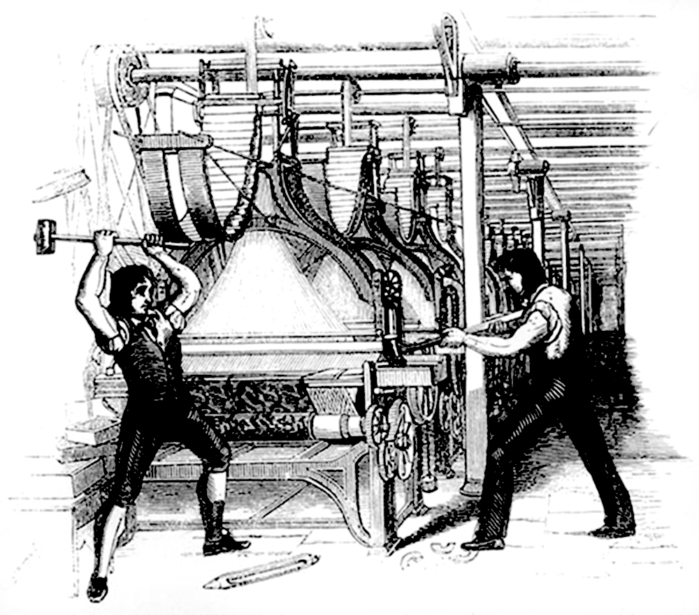Fig. 2 Luddites destroying the power loom that threatened to replace their craft, 1812.