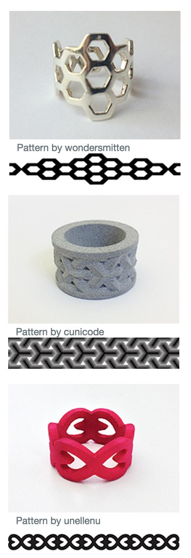 Fig. 7 Consumer 'designed' rings created through the Shapeways.com custom ring creator app.