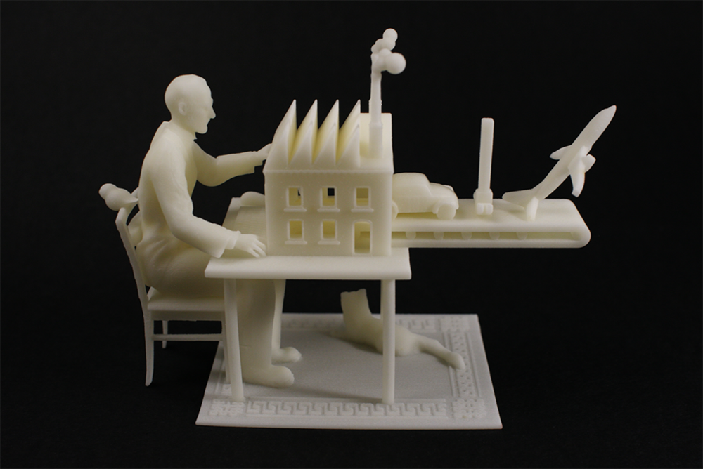 Fig. 1 3D Printed representation of Brett Ryder's illustration for The Economist, titled Third Industrial Revolution, by XYZWorkshop, available for purchase online.