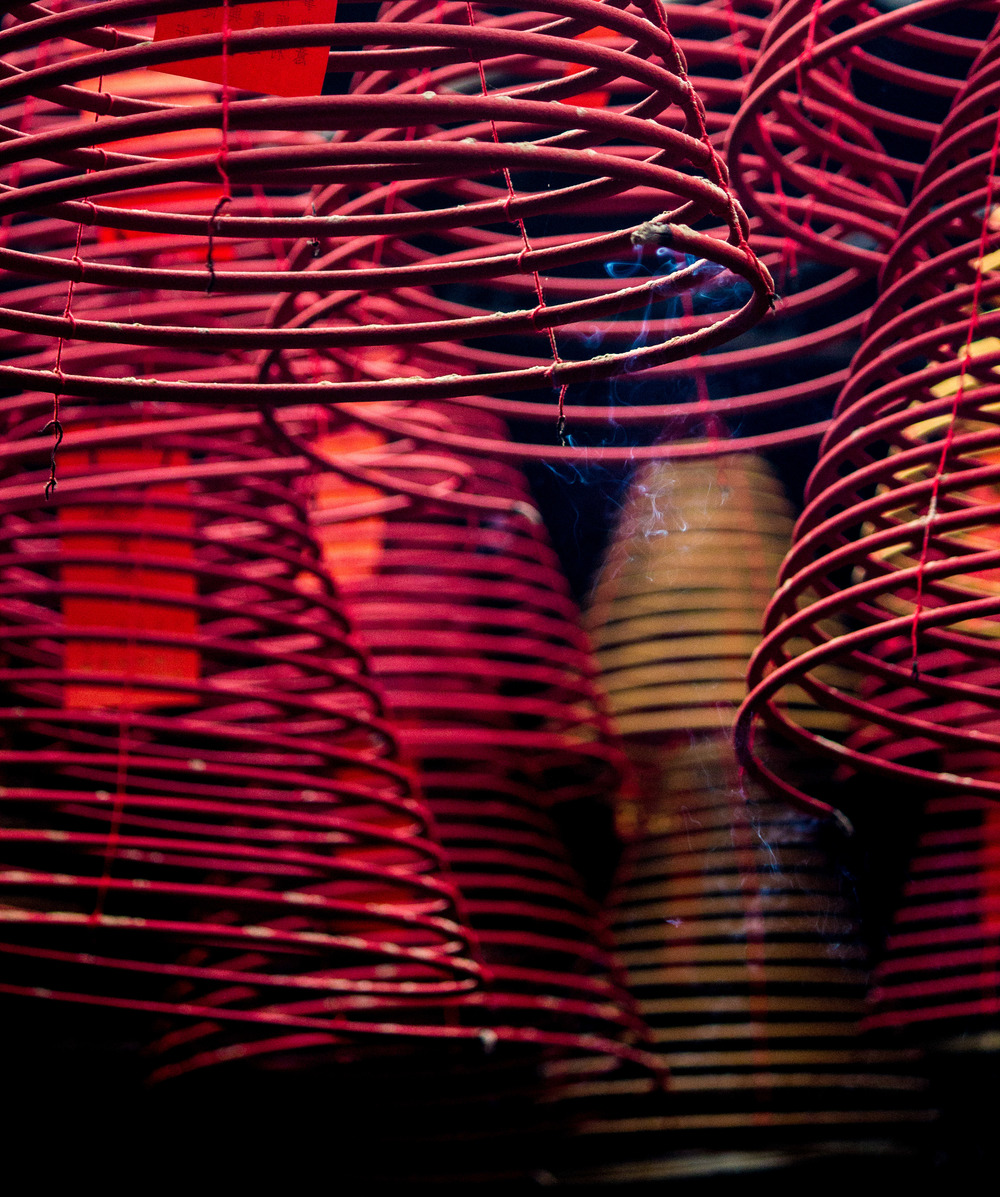 Incense coils in a temple