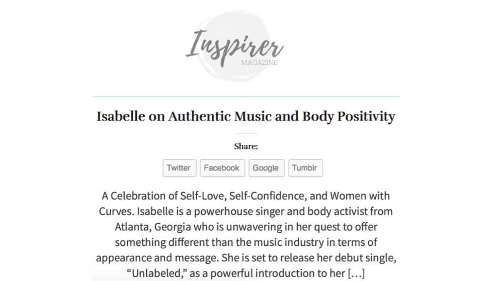 "Thank you Inspirer for getting behind Isabelle's new single ""Unlabeled""! To Read Full article: http://inspirer.life/home/2017/08/isabelle-authentic-music-body-positivity-2/"