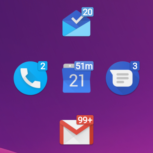 Note the unread badge color matches the app icon