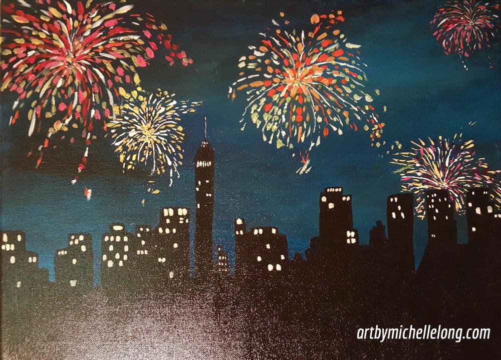 """Fireworks"" acrylic on canvas -16"" X 12"""